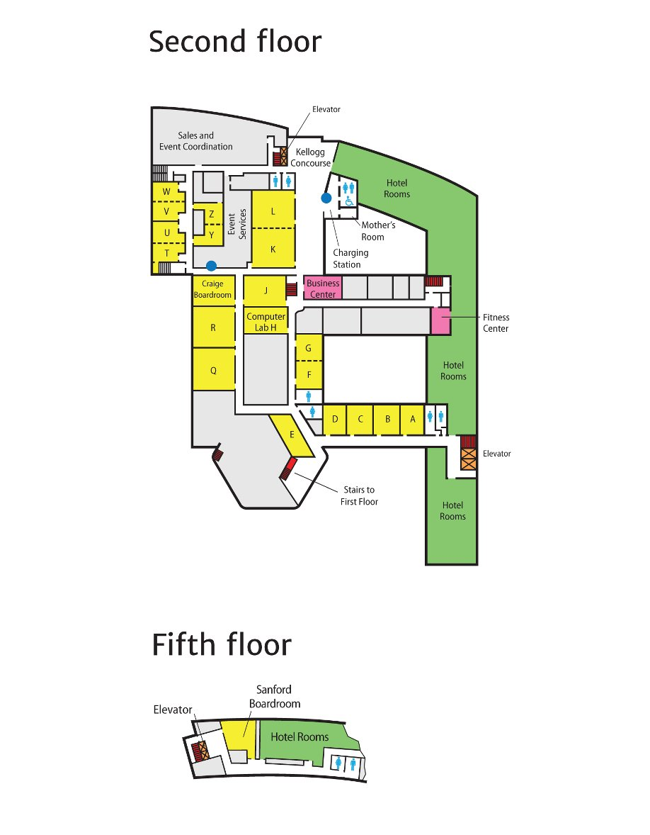 Conference Center & Hotel property map - second and fifth floors