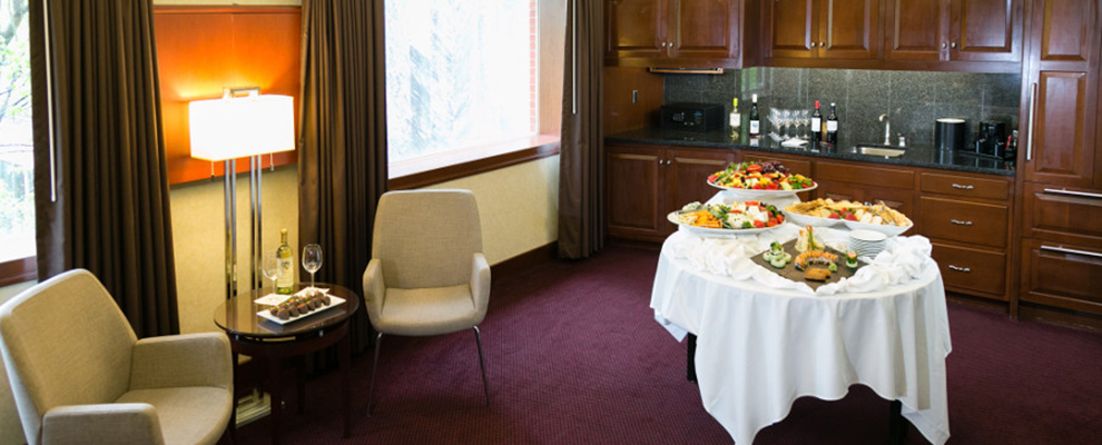 Plaza Queen hospitality suite setup