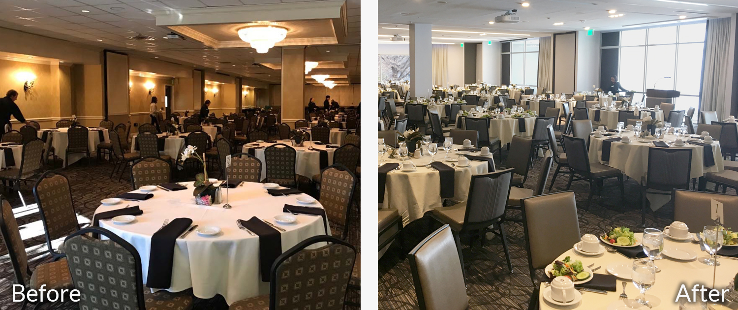 Magnolia Ballroom before and after images