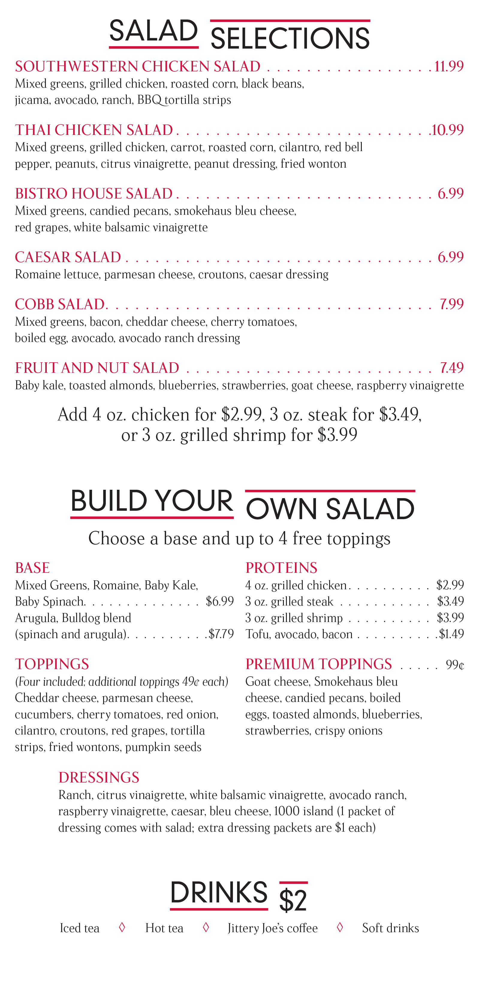 Salad options at the Bulldog Bistro